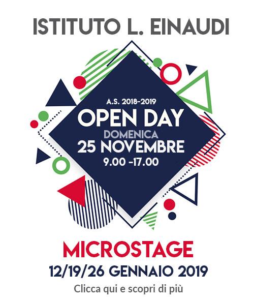 25 Novembre Open Day Einaudi 2018/2019